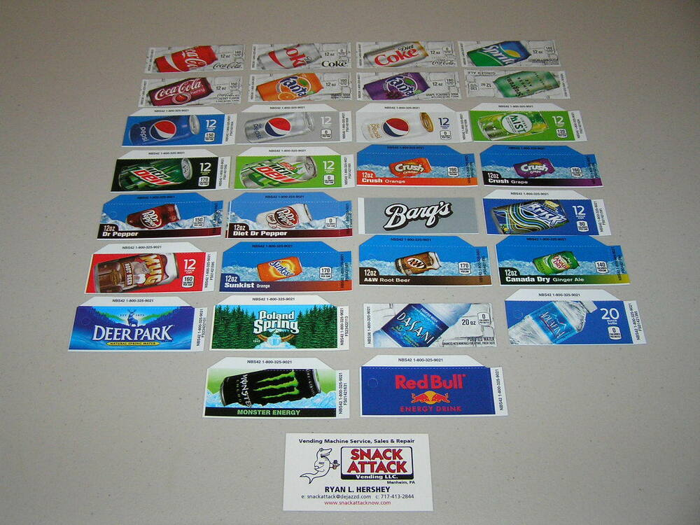 soda vending machine labels