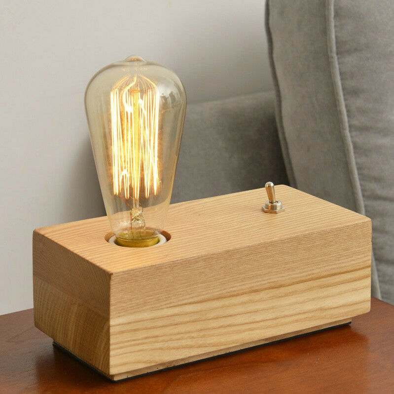 retro loft natrual wooden table desk lamp edison light bulb ebay. Black Bedroom Furniture Sets. Home Design Ideas