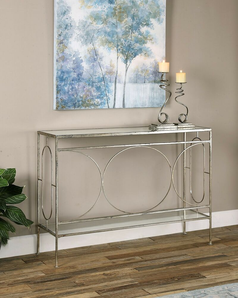 Metal Foyer Table Mirror : Large antiqued silver leaf metal sofa console hall table