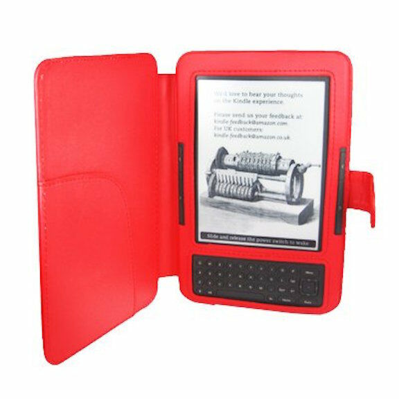Red PU Leather Case Cover For Reader Amazon Kindle 3 3G Wi