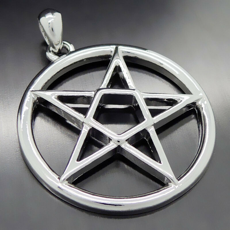 Men S Inverted Pentacle Pentagram Star Boy S Pewter Pendant Free Necklace Ebay