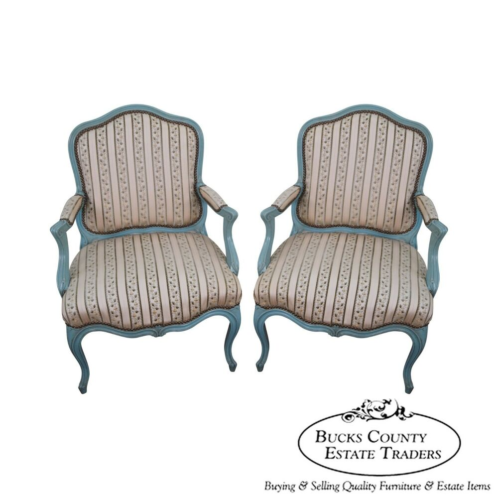 Antique French Louis Xv Style Pair Of Painted Fauteuil Arm