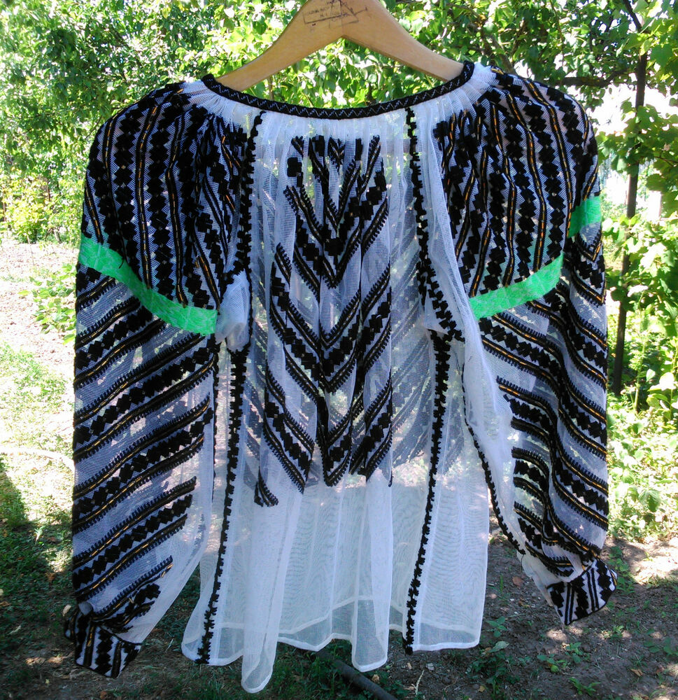 Vintage Folk Beads Embroidered Romanian Traditional Blouse Handmade Motifs Ebay