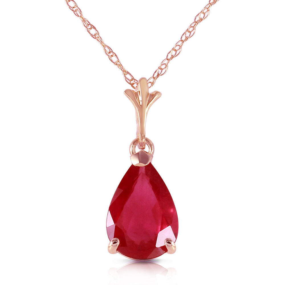 Pink Ruby Jewellery: Genuine Red Ruby Pear Cut Gemstone Solitaire Pendant