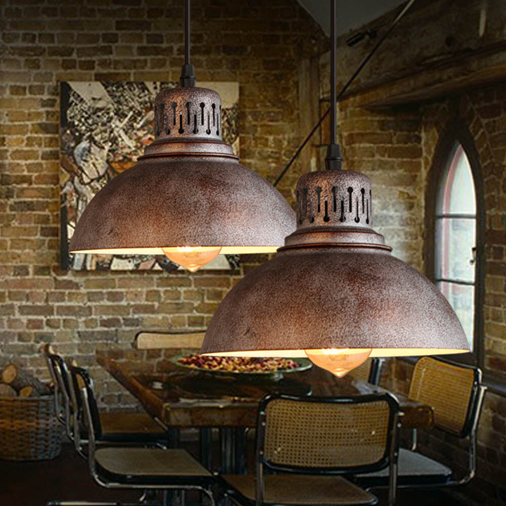 1pc industrial loft pendant lamp iron vintage bar cafe lampshade ceiling lights ebay. Black Bedroom Furniture Sets. Home Design Ideas