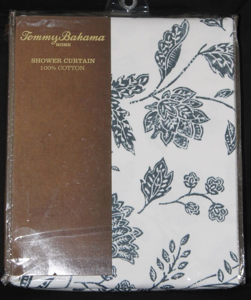 Tommy Bahama Home Blue White Floral Fabric Shower Curtain 72x72 Cotton ...