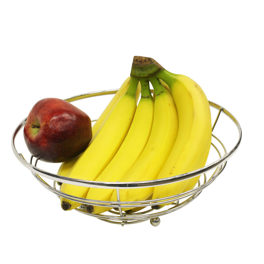 """11"""" Silver Chrome Steel Wire Kitchen Counter Fruit"""