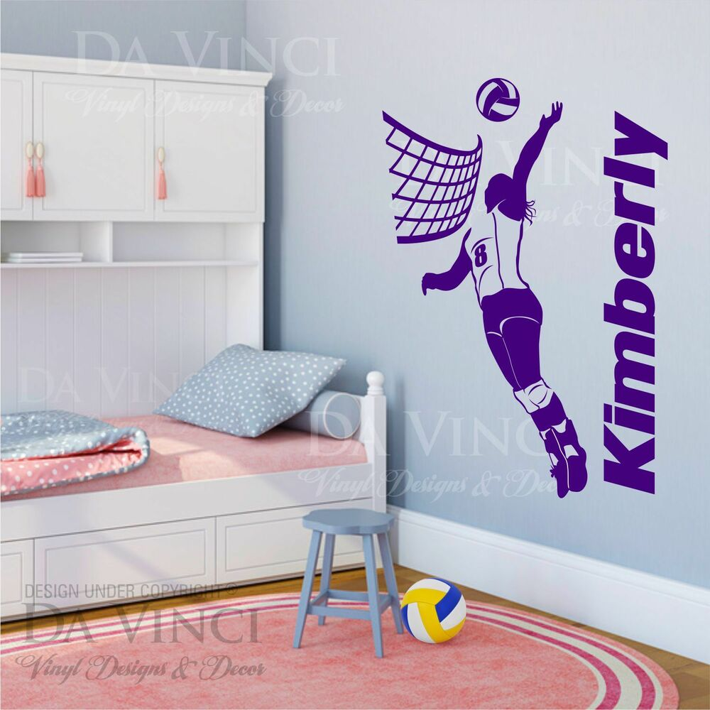 volleyball player decal girl custom name wall personalized