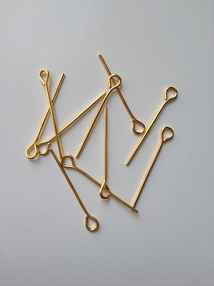 700 pcs gold plated eye pins jewelry findings 22mm 103 for Earring supplies for jewelry making