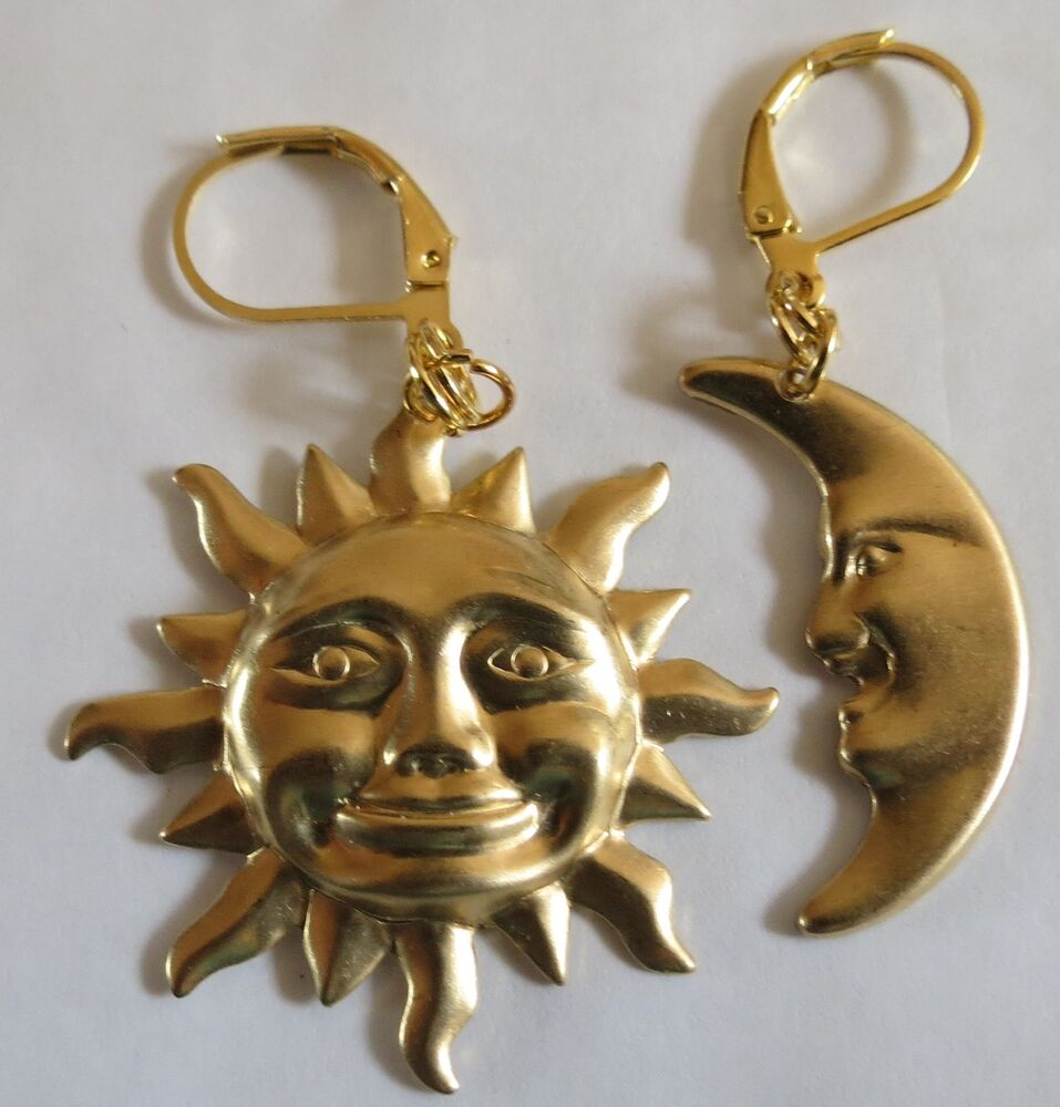 sun and moon large gold tone earrings for pierced ears ebay