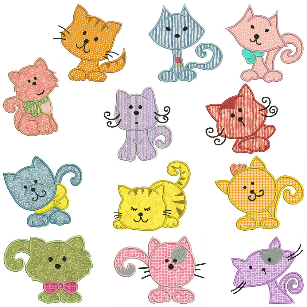 Cats machine applique embroidery patterns