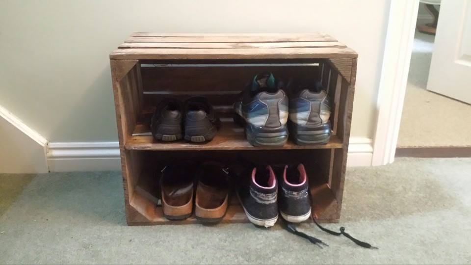 Vintage Wooden Apple Box Fruit Crate Rustic Shabby Chic Ebay