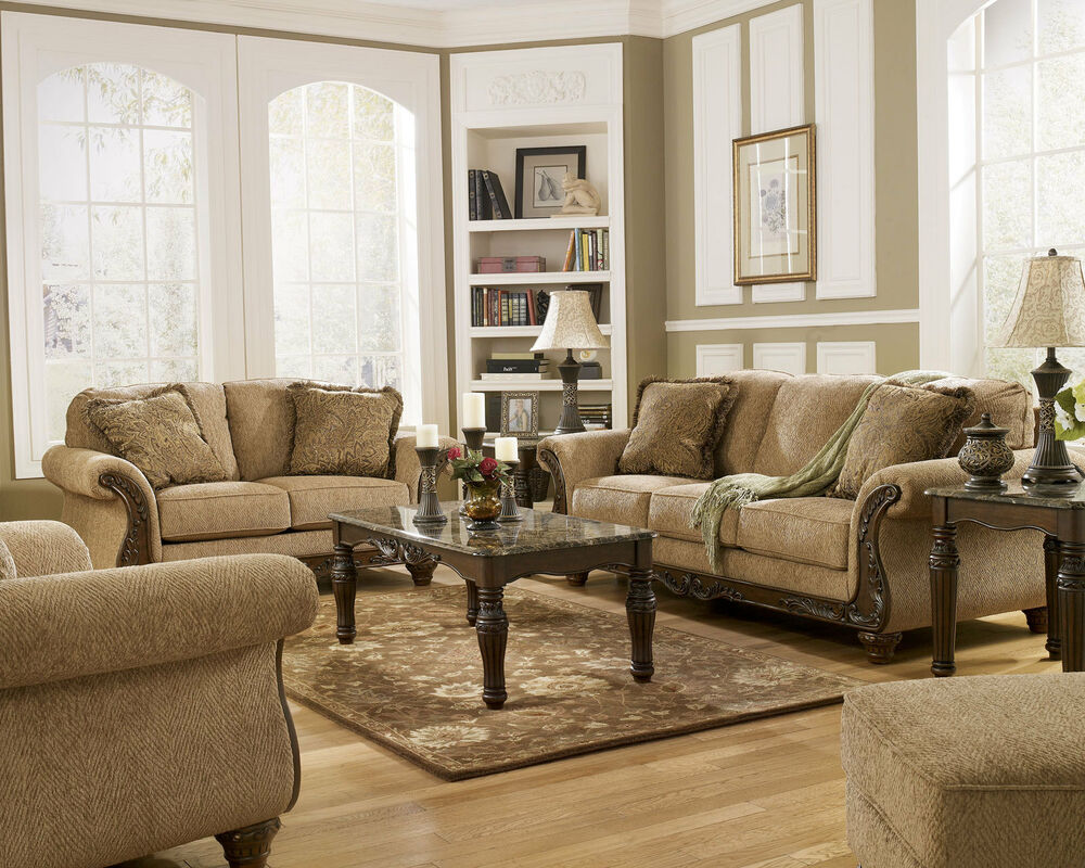JULIAN TRADITIONAL BROWN FABRIC WOOD TRIM SOFA COUCH SET LIVING ROOM FURNIT