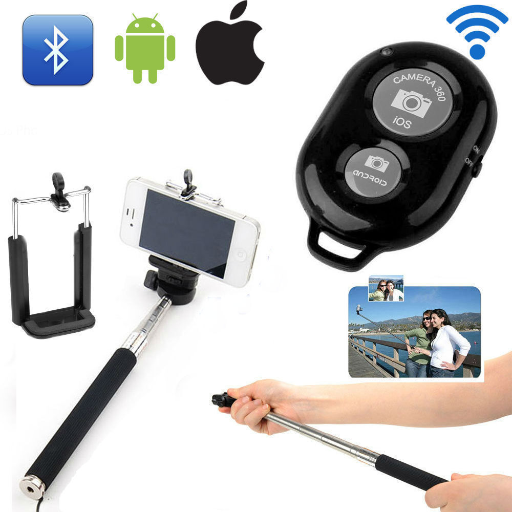extendable selfie stick monopod remote control bluetooth for android ios ebay. Black Bedroom Furniture Sets. Home Design Ideas