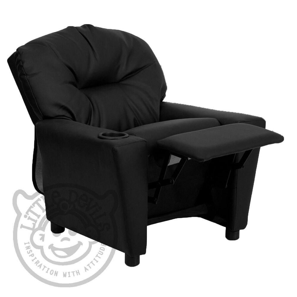 Black recliner kids childrens armchair games chair sofa for Toddler leather chair