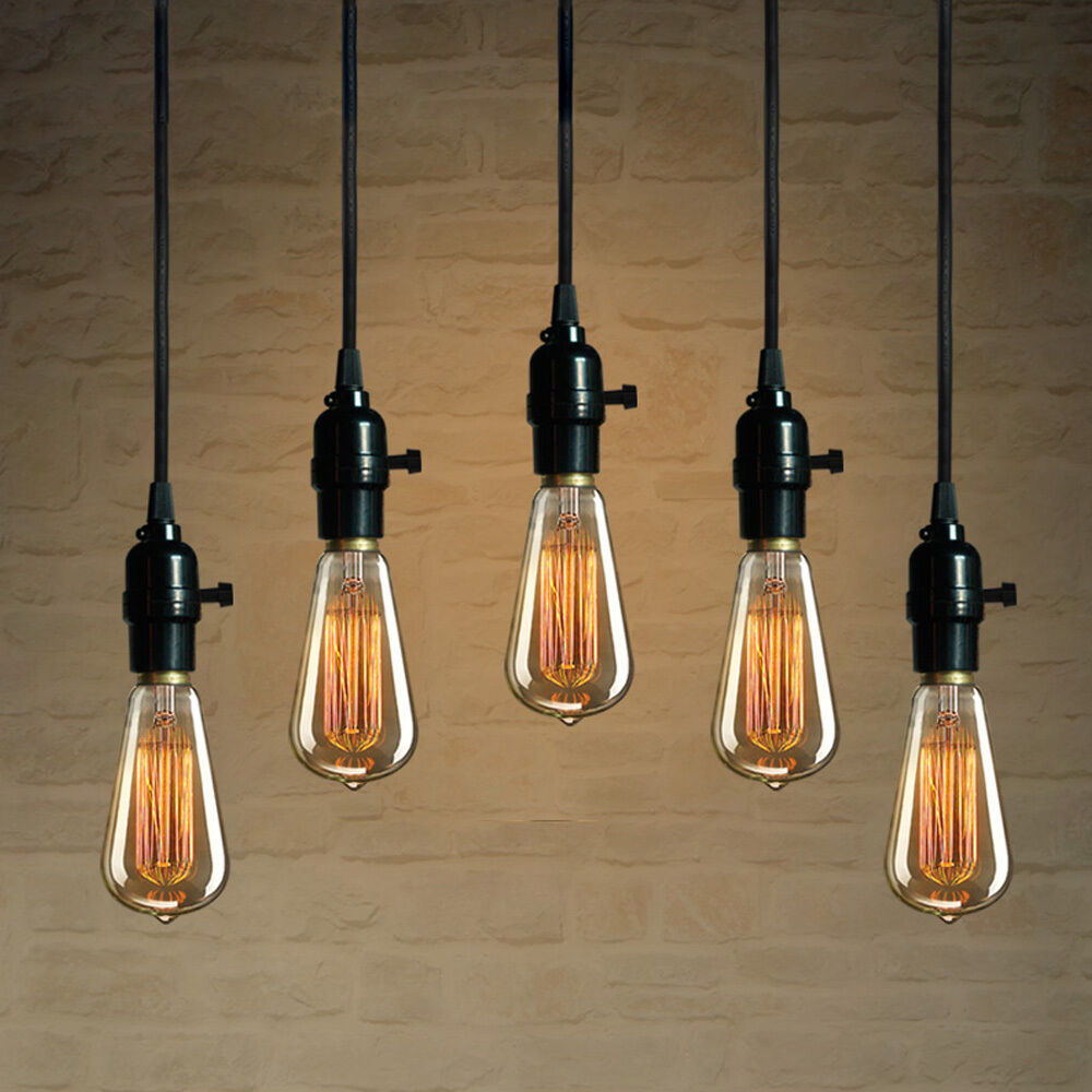 Hanging Lamp Light: 1pc Industrial Pendant Lamp Wire Bulb Socket Chandeliers