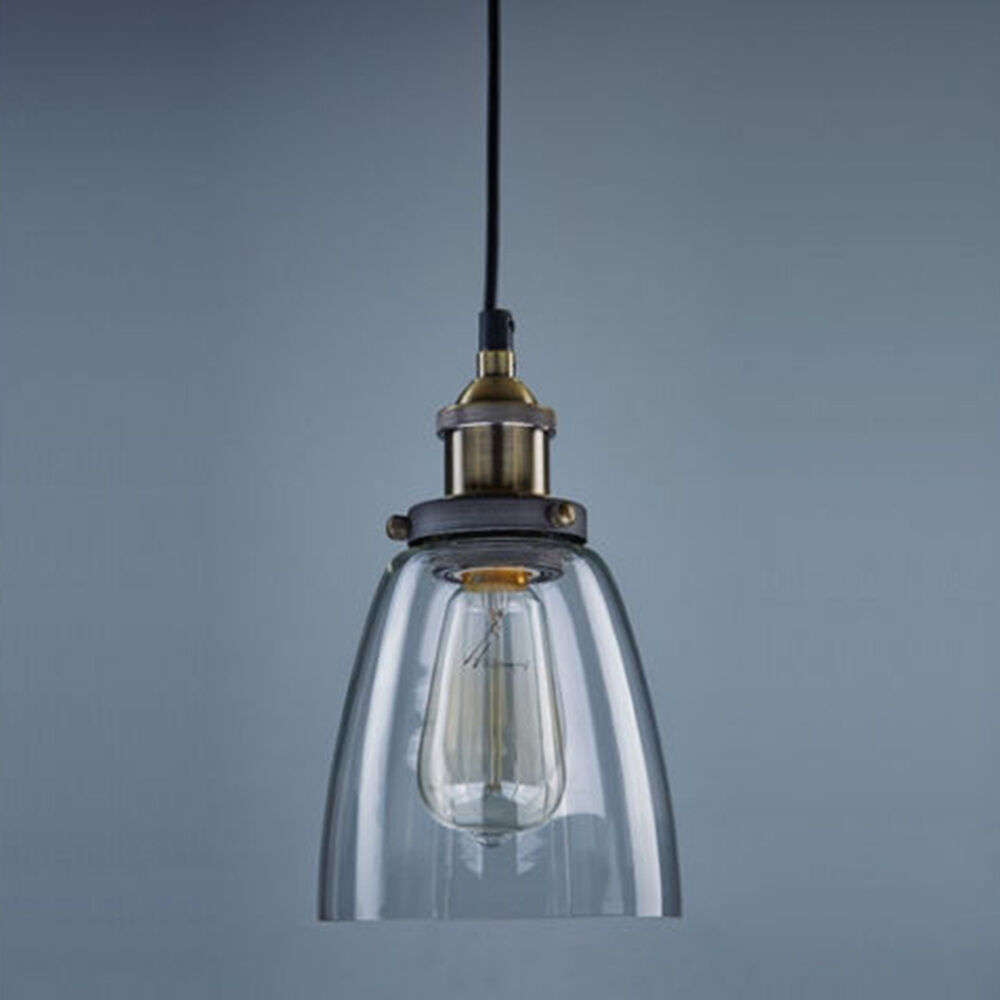 New retro pendant lamp vintage chandelier glass shade for Lampe suspendu noir