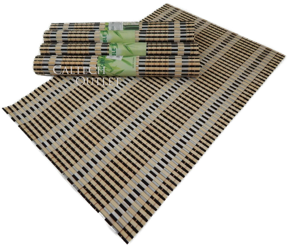 Wooden natural bamboo placemats dining table mats set of for Table placemats