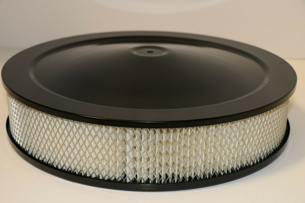 Chevy 350 Air Cleaner : Quot round black air cleaner assembly drop base chevy