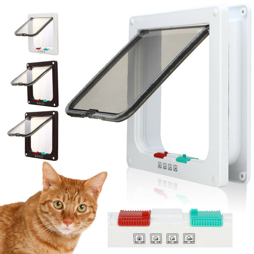 4 Way Magnetic Locking Lockable Pet Cat Dog Flap Door Safe
