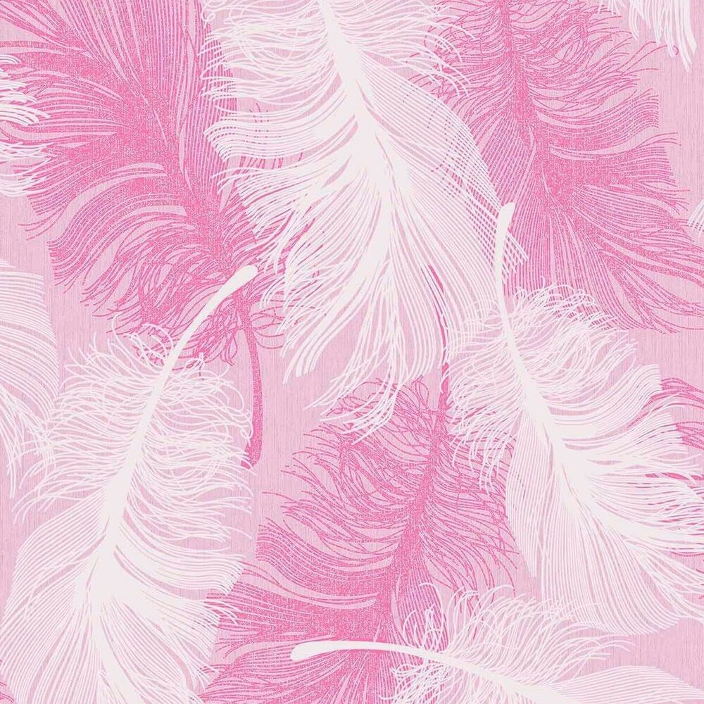 New Coloroll Feather Silver Glitter Pink White Silver