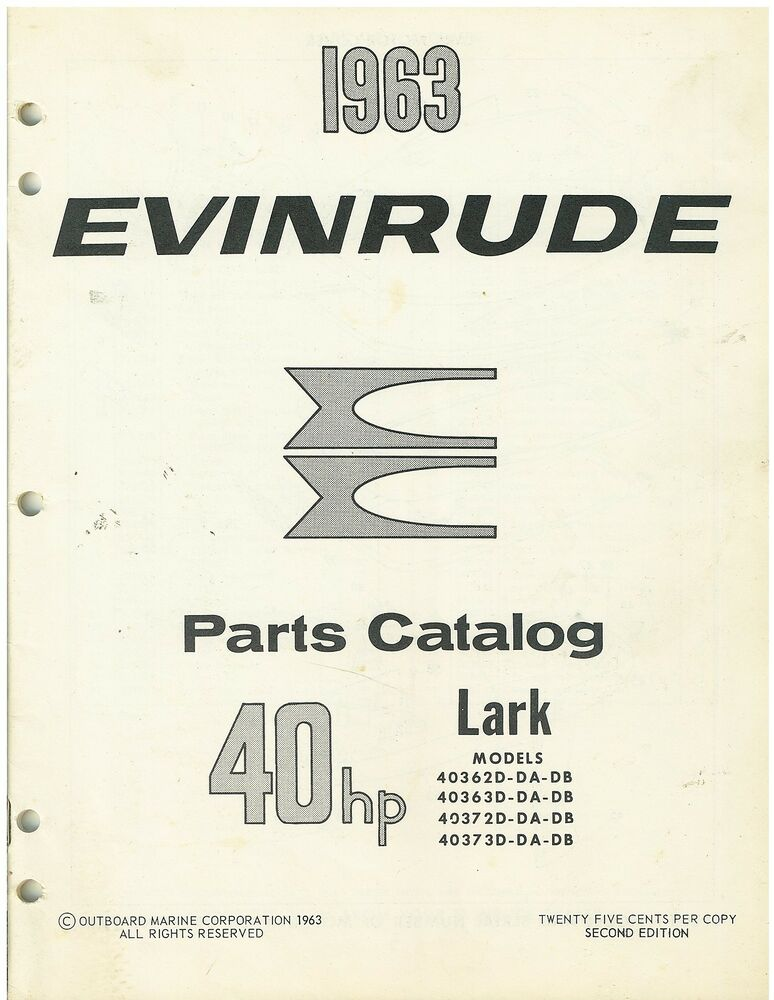 Vintage 1963 evinrude 40 hp lark boat motor parts catalog for Outboard motor parts online