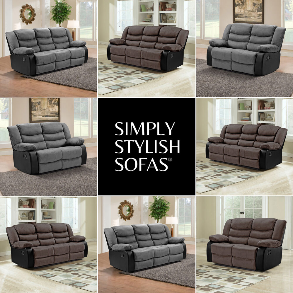 belfast suede fabric recliner sofas 3 2 seater armchairs 1 year guarantee ebay. Black Bedroom Furniture Sets. Home Design Ideas
