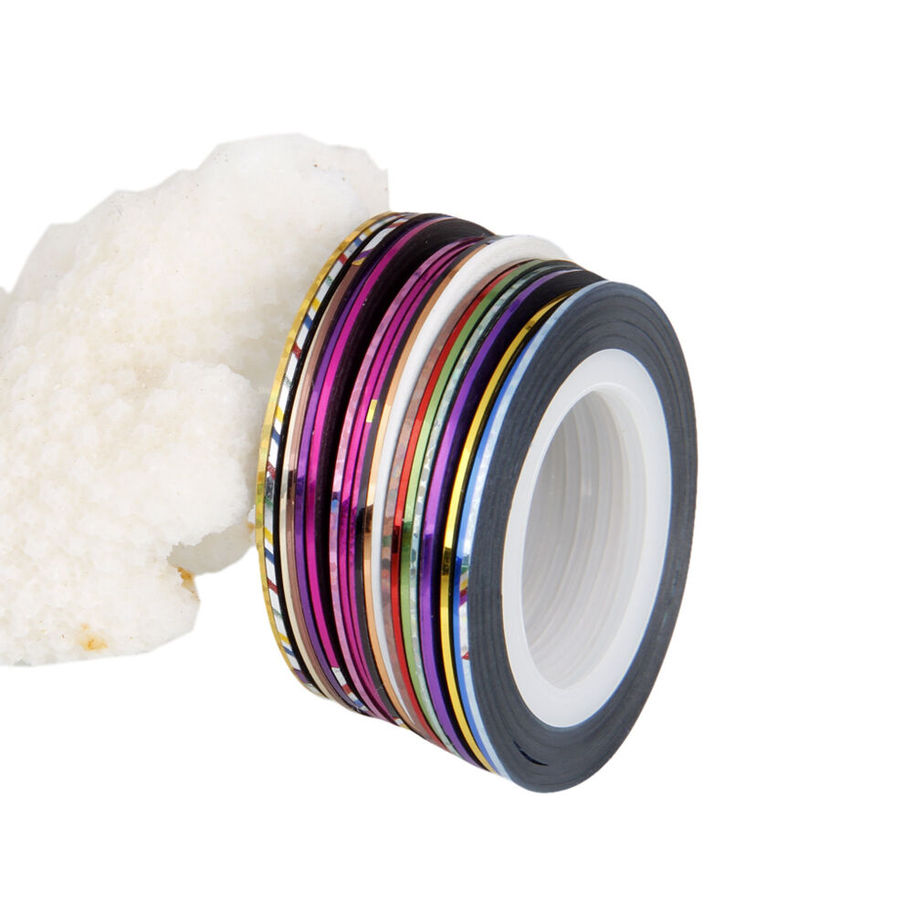 Striping Tape Line Nail Art: 20Pcs Mixed Colors Rolls Striping Tape Line DIY Nail Art