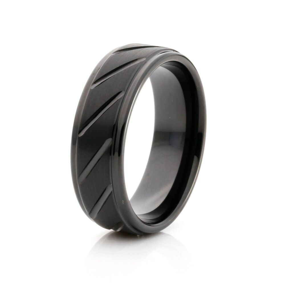 men 39 s wedding band tungsten grooved 8mm comfort fit black. Black Bedroom Furniture Sets. Home Design Ideas