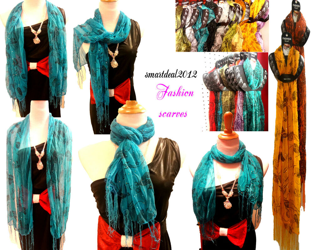 wholesale 12 lot polyester shawl scarf stole wrap