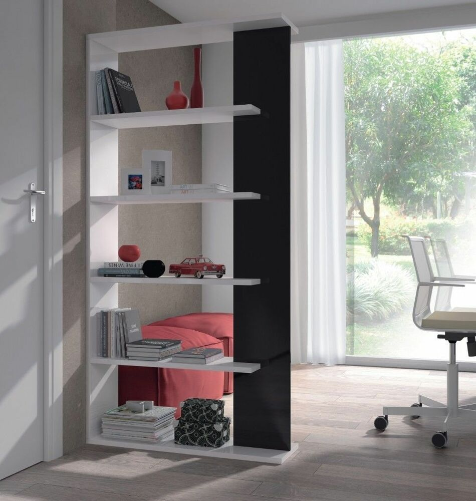 White black high gloss aida 5 tier bookcase storage unit - Room divider with storage ...