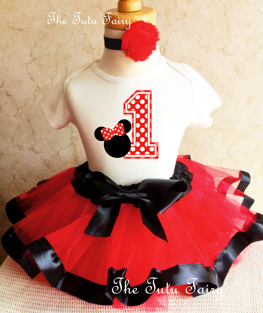 Minnie Mouse Red Black White Baby Girl 1st First Birthday