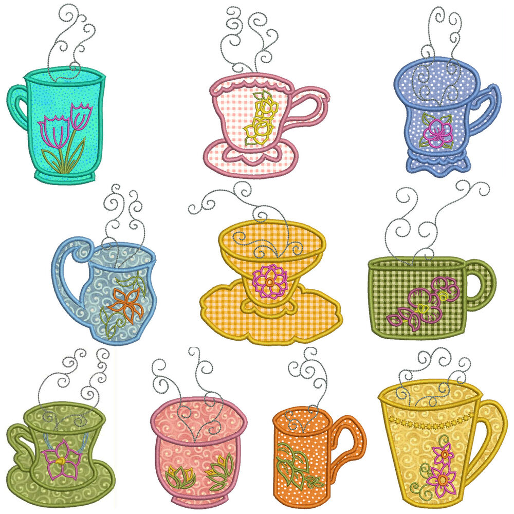 Teatime machine applique embroidery patterns