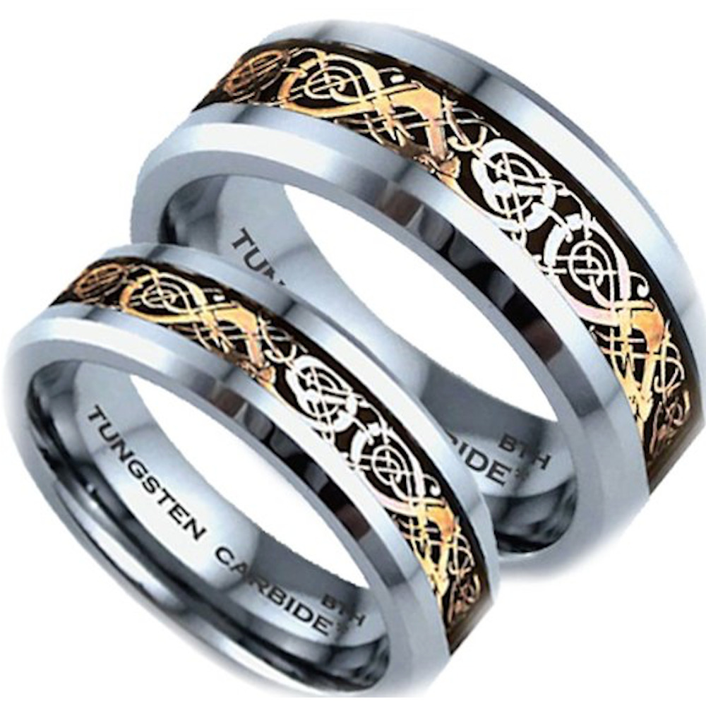 His and hers tungsten carbide celtic dragon inlay wedding for Tungsten celtic wedding ring