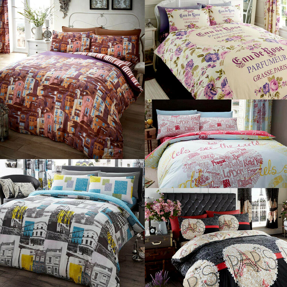 French Inspired Paris Eiffel Tower Duvet Quilt Cover