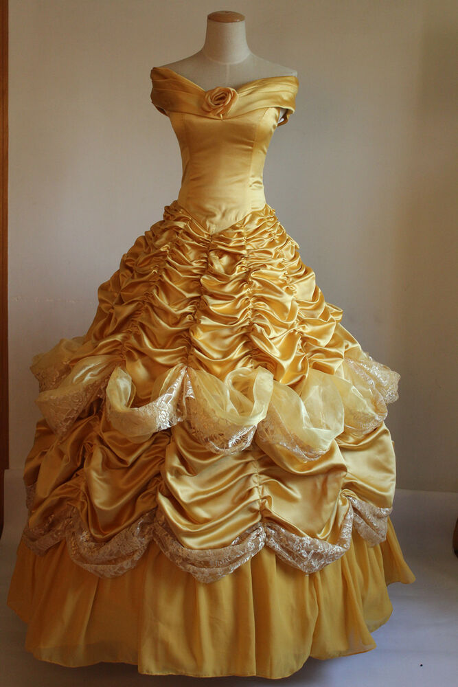 Deluxe Princess Dress Beast Belle Yellow Dress Cosplay ...