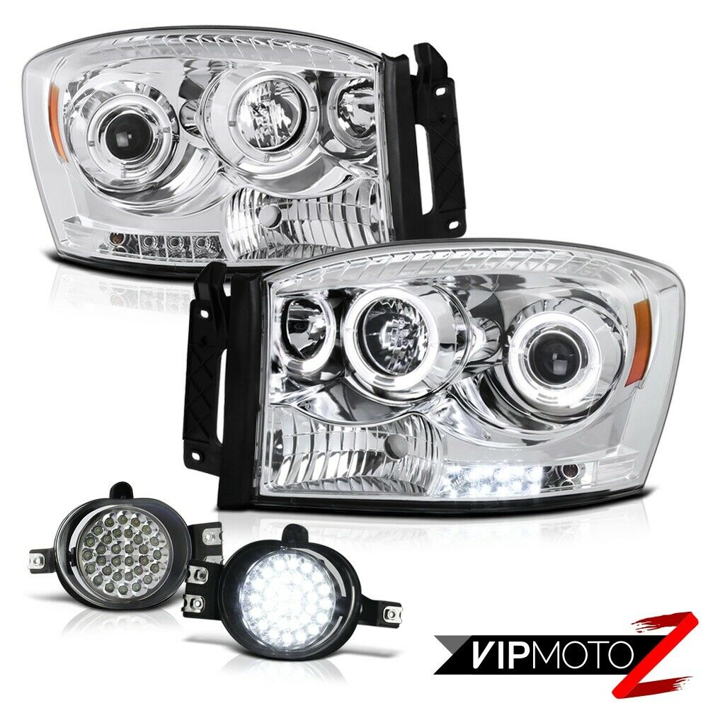 2006 09 dodge ram 2500 3500 chrome angel eye head lights. Black Bedroom Furniture Sets. Home Design Ideas