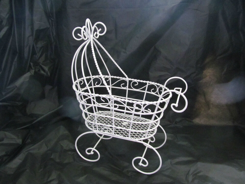 Fancy wire baby carriage for baby shower decorations for Baby carriage decoration