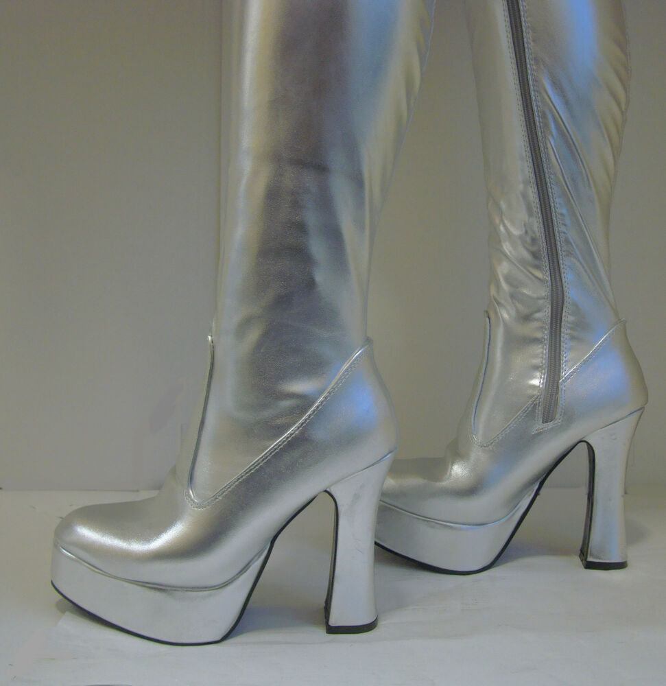 silver platform boots disco 70s style gogo boots size