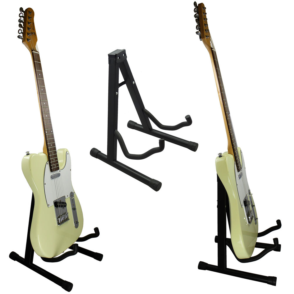 black foldable a frame guitar stand for acoustic electric classic guitar ebay. Black Bedroom Furniture Sets. Home Design Ideas