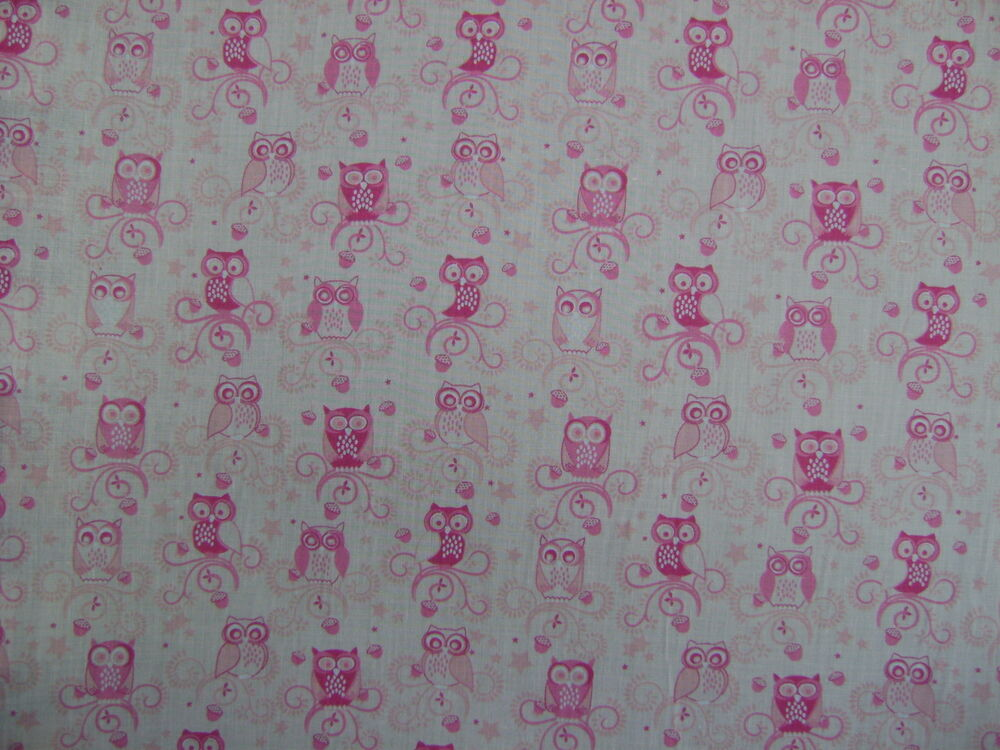 Pink owl polycotton childrens prints craft dress fabric for Childrens dress fabric