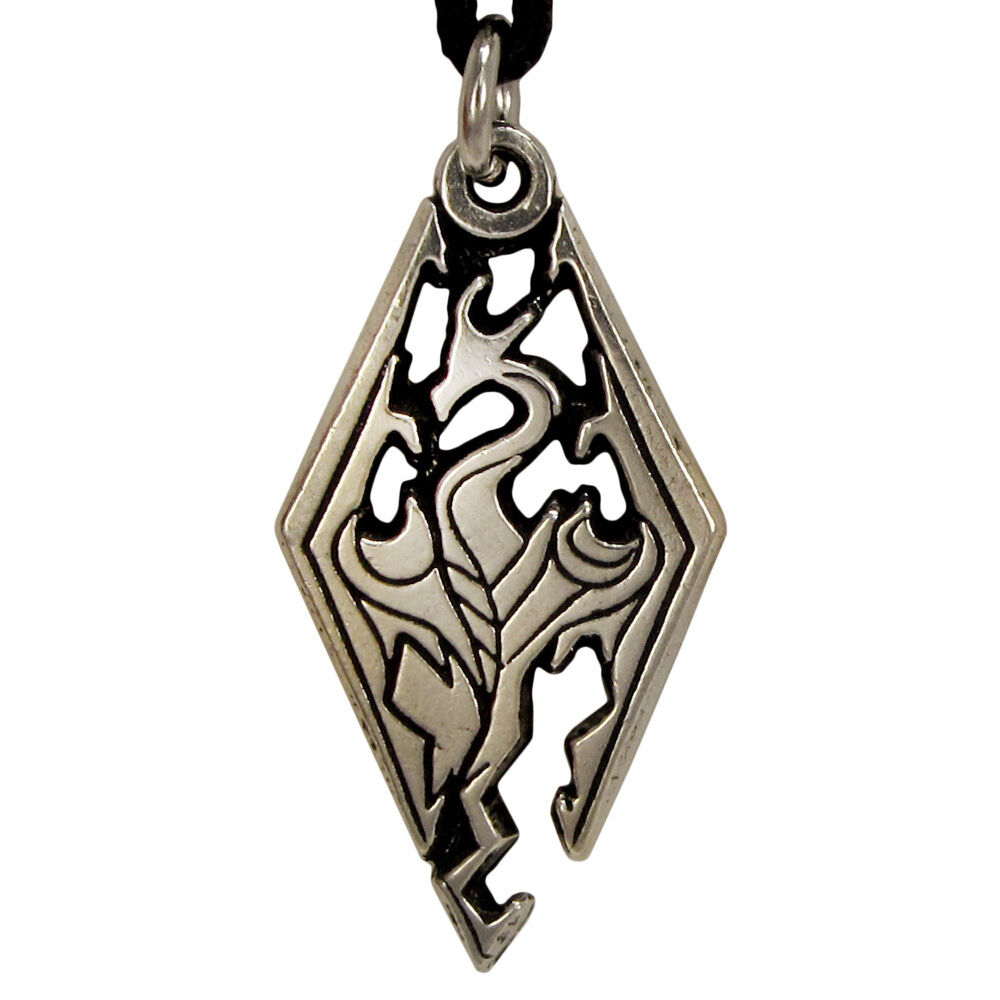pewter skyrim logo pendant necklace gaming jewelry