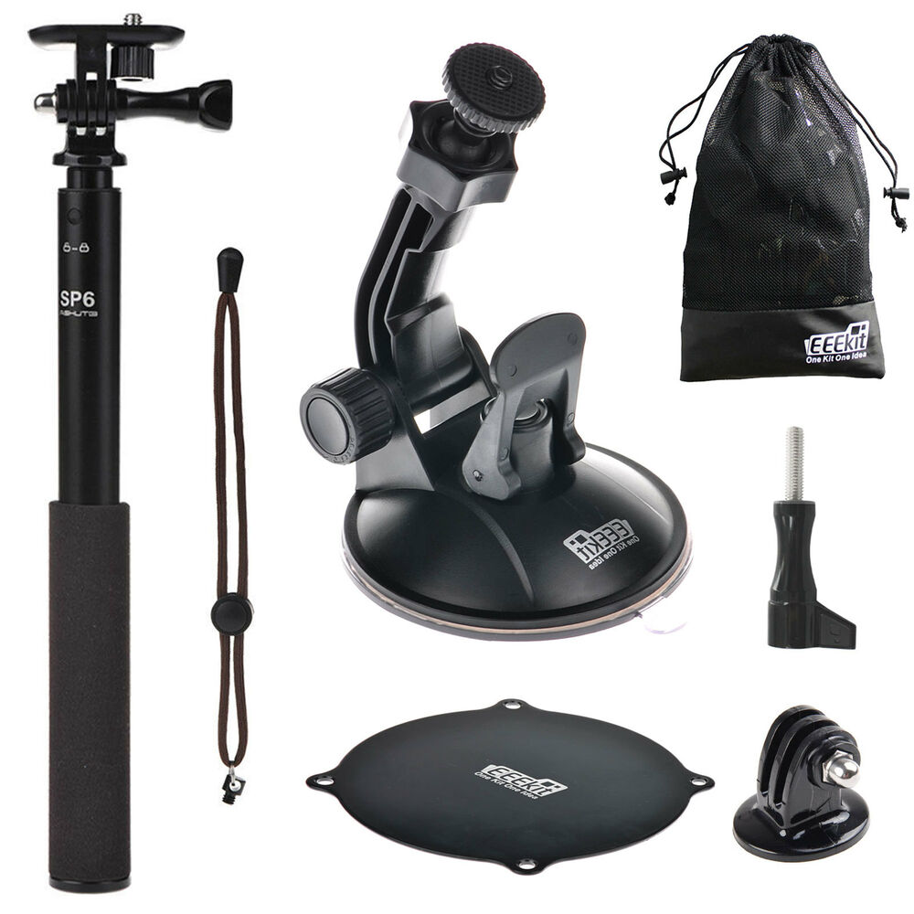 eeekit accessories for action sports cam suction cup mount selfie stick monopod ebay. Black Bedroom Furniture Sets. Home Design Ideas