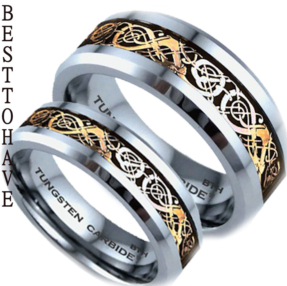 His and hers tungsten carbide celtic dragon inlay wedding for Tungsten carbide wedding ring sets