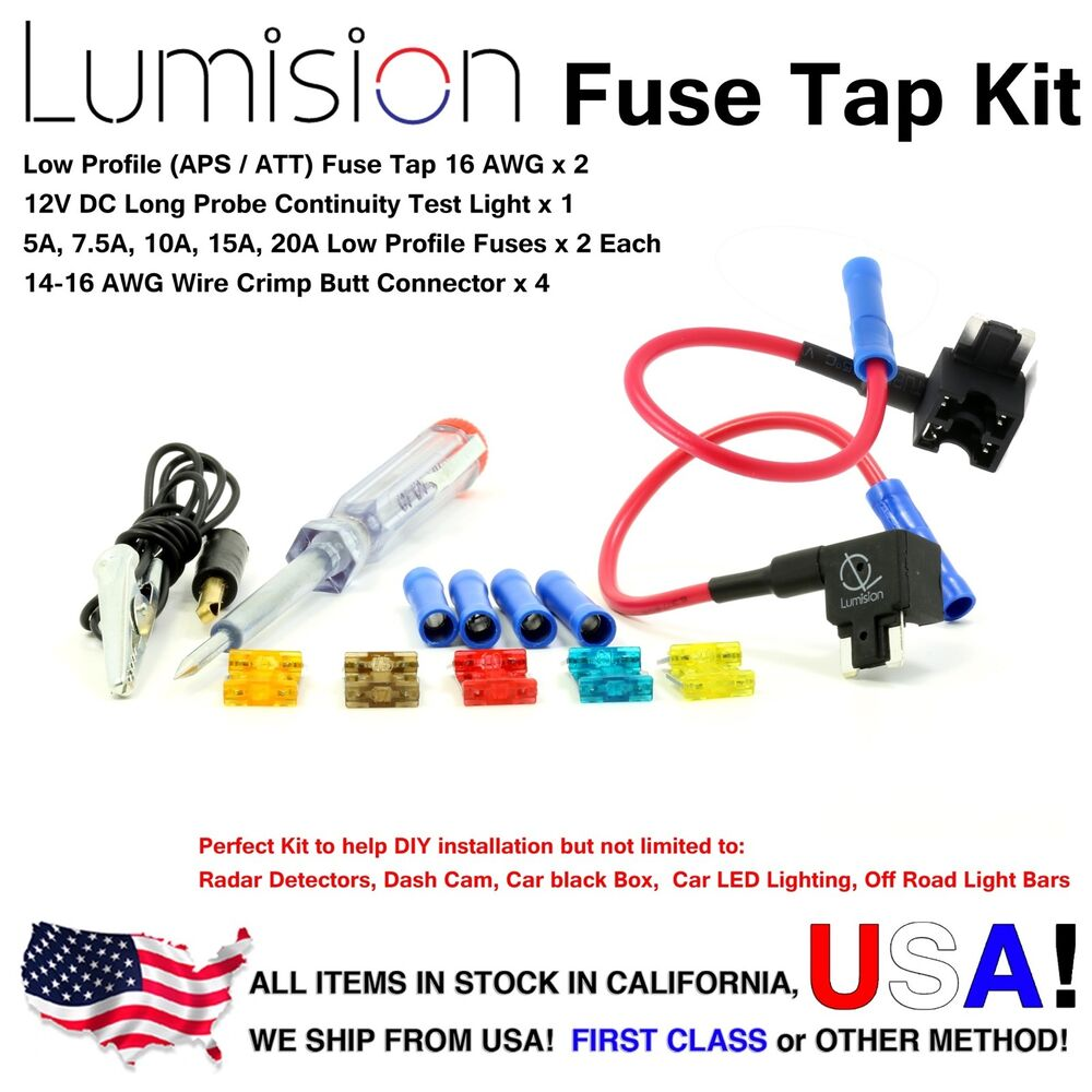 Add-a-circuit Low Profile APS ATT Fuse Tap Kit Fuses Boat Tester ...