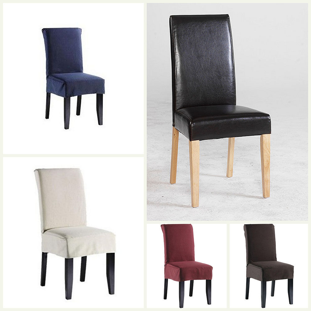 Short dining chair covers polyester 6 colours dining room for Dining room chairs