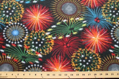 Fireworks in the night sky fleece fabric print by the yard for Night sky print fabric