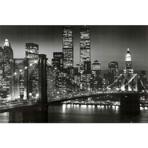 new york city brooklyn bridge night skyline art print poster nyc black and white ebay. Black Bedroom Furniture Sets. Home Design Ideas