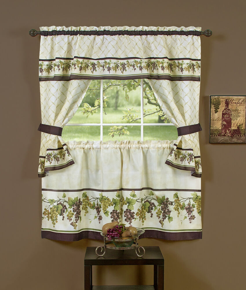 "Tuscany Kitchen Curtain 36"" Tier Pair Valence Swag"