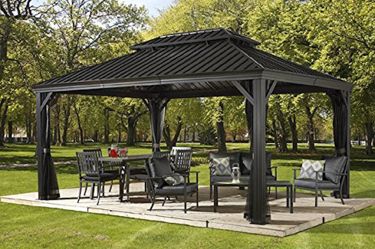 Patio Sun Shelter Pool Furniture Gazebo 12 X 16 Ft Hardtop